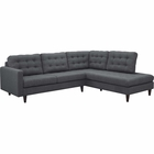 Modway Empress 2 Piece Upholstered Fabric Right Facing Bumper Sectional in Gray MY-EEI-2797-DOR