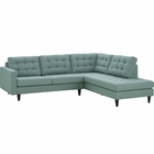 Modway Empress 2 Piece Upholstered Fabric Right Facing Bumper Sectional in Laguna MY-EEI-2797-LAG