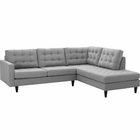 Modway Empress 2 Piece Upholstered Fabric Right Facing Bumper Sectional in Light Gray MY-EEI-2797-LGR