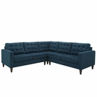 Modway Empress 3 Piece Upholstered Fabric Sectional Sofa Set in Azure MY-EEI-1417-AZU