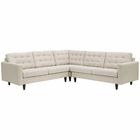 Modway Empress 3 Piece Upholstered Fabric Sectional Sofa Set in Beige MY-EEI-1417-BEI