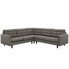 Modway Empress 3 Piece Upholstered Fabric Sectional Sofa Set in Granite MY-EEI-1417-GRA