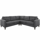 Modway Empress 3 Piece Upholstered Fabric Sectional Sofa Set in Gray MY-EEI-1417-DOR