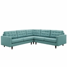 Modway Empress 3 Piece Upholstered Fabric Sectional Sofa Set in Laguna MY-EEI-1417-LAG