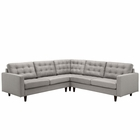 Modway Empress 3 Piece Upholstered Fabric Sectional Sofa Set in Light Gray MY-EEI-1417-LGR