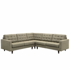 Modway Empress 3 Piece Upholstered Fabric Sectional Sofa Set in Oatmeal MY-EEI-1417-OAT