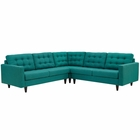 Modway Empress 3 Piece Upholstered Fabric Sectional Sofa Set in Teal MY-EEI-1417-TEA