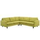 Modway Empress 3 Piece Upholstered Fabric Sectional Sofa Set in Wheatgrass MY-EEI-1417-WHE