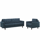 Modway Empress Armchair and Sofa Upholstered Fabric Set of 2 in Azure MY-EEI-1313-AZU