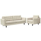 Modway Empress Armchair and Sofa Upholstered Fabric Set of 2 in Beige MY-EEI-1313-BEI