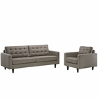Modway Empress Armchair and Sofa Upholstered Fabric Set of 2 in Granite MY-EEI-1313-GRA