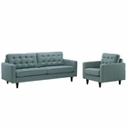 Modway Empress Armchair and Sofa Upholstered Fabric Set of 2 in Laguna MY-EEI-1313-LAG
