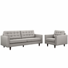 Modway Empress Armchair and Sofa Upholstered Fabric Set of 2 in Light Gray MY-EEI-1313-LGR