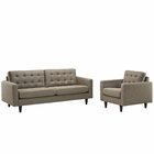 Modway Empress Armchair and Sofa Upholstered Fabric Set of 2 in Oatmeal MY-EEI-1313-OAT