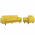 Modway Empress Armchair and Sofa Upholstered Fabric Set of 2 in Sunny MY-EEI-1313-SUN