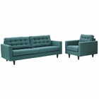 Modway Empress Armchair and Sofa Upholstered Fabric Set of 2 in Teal MY-EEI-1313-TEA