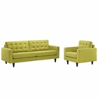 Modway Empress Armchair and Sofa Upholstered Fabric Set of 2 in Wheatgrass MY-EEI-1313-WHE