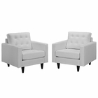 Modway Empress Armchair Leather Set of 2 in White MY-EEI-1282-WHI