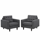 Modway Empress Armchair Upholstered Fabric Set of 2 in Gray MY-EEI-1283-DOR