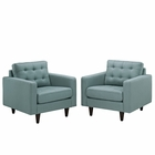 Modway Empress Armchair Upholstered Fabric Set of 2 in Laguna MY-EEI-1283-LAG