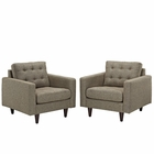 Modway Empress Armchair Upholstered Fabric Set of 2 in Oatmeal MY-EEI-1283-OAT