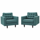 Modway Empress Armchair Upholstered Fabric Set of 2 in Teal MY-EEI-1283-TEA
