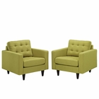 Modway Empress Armchair Upholstered Fabric Set of 2 in Wheatgrass MY-EEI-1283-WHE