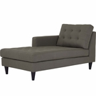 Modway Empress Left-Arm Upholstered Fabric Chaise in Granite MY-EEI-2596-GRA