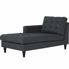 Modway Empress Left-Arm Upholstered Fabric Chaise in Gray MY-EEI-2596-DOR