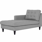 Modway Empress Left-Arm Upholstered Fabric Chaise in Light Gray MY-EEI-2596-LGR