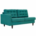 Modway Empress Left-Facing Upholstered Fabric Loveseat in Teal MY-EEI-2589-TEA