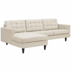 Modway Empress Left-Facing Upholstered Fabric Sectional Sofa in Beige MY-EEI-1666-BEI