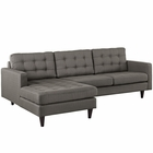 Modway Empress Left-Facing Upholstered Fabric Sectional Sofa in Granite MY-EEI-1666-GRA