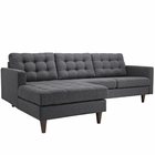 Modway Empress Left-Facing Upholstered Fabric Sectional Sofa in Gray MY-EEI-1666-DOR