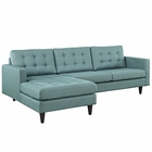 Modway Empress Left-Facing Upholstered Fabric Sectional Sofa in Laguna MY-EEI-1666-LAG