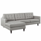 Modway Empress Left-Facing Upholstered Fabric Sectional Sofa in Light Gray MY-EEI-1666-LGR