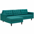 Modway Empress Left-Facing Upholstered Fabric Sectional Sofa in Teal MY-EEI-1666-TEA