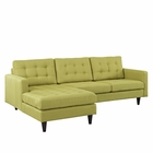 Modway Empress Left-Facing Upholstered Fabric Sectional Sofa in Wheatgrass MY-EEI-1666-WHE