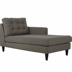 Modway Empress Right-Arm Upholstered Fabric Chaise in Granite MY-EEI-2597-GRA