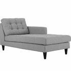 Modway Empress Right-Arm Upholstered Fabric Chaise in Light Gray MY-EEI-2597-LGR