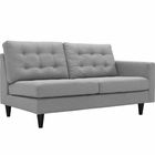 Modway Empress Right-Facing Upholstered Fabric Loveseat in Light Gray MY-EEI-2595-LGR