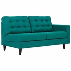 Modway Empress Right-Facing Upholstered Fabric Loveseat in Teal MY-EEI-2595-TEA