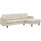 Modway Empress Right-Facing Upholstered Fabric Sectional Sofa in Beige MY-EEI-1416-BEI