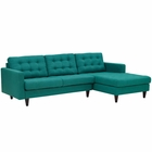 Modway Empress Right-Facing Upholstered Fabric Sectional Sofa in Teal MY-EEI-1416-TEA