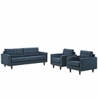 Modway Empress Sofa and Armchairs Upholstered Fabric Set of 3 in Azure MY-EEI-1314-AZU