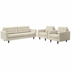Modway Empress Sofa and Armchairs Upholstered Fabric Set of 3 in Beige MY-EEI-1314-BEI
