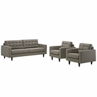 Modway Empress Sofa and Armchairs Upholstered Fabric Set of 3 in Granite MY-EEI-1314-GRA