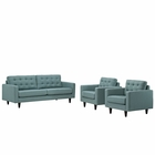 Modway Empress Sofa and Armchairs Upholstered Fabric Set of 3 in Laguna MY-EEI-1314-LAG