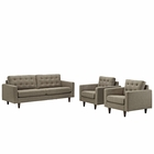 Modway Empress Sofa and Armchairs Upholstered Fabric Set of 3 in Oatmeal MY-EEI-1314-OAT