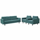 Modway Empress Sofa and Armchairs Upholstered Fabric Set of 3 in Teal MY-EEI-1314-TEA